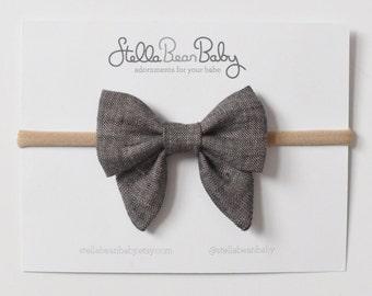 Charcoal Linen Isla Sailor Bow