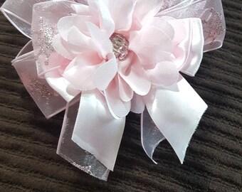 Embellished Pink Crown Printed Ribbon Headband