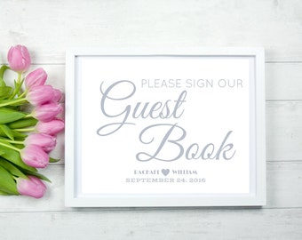 Silver Wedding Guest Book Sign For Your DIY Wedding