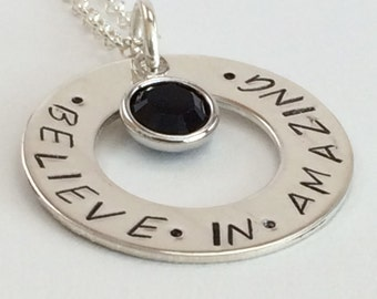 believe in amazing necklace - sterling silver hand stamped pendant