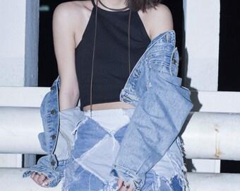 SALE 30% off   Re-made Denim Patchwork A-Line Mini Skirt