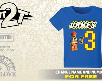 LEGO Emmet T-Shirt, Custom Name, Number or Character  1st 2nd 3rd 4th 5th 6th 7th Lego Birthday Shirt, custom lego t-shirt