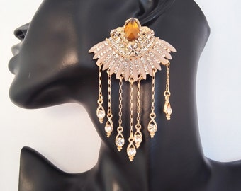Pale rose and gold chandelier earrings