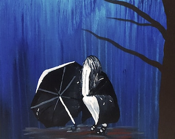 Girl Crying in the Rain canvas painting