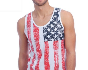 Small - Men's Tank with US Flag Distressed Print - 4th of July - Small - USA Tshirt - USA Tank top - Patriotic Tank Top