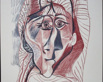 PABLO PICASSO, Original Lithograph from Marina Picasso Estate Collection, Visage de femme de face, Signed Numbered, FREE Shipping