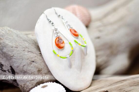 Loop Drop Earring with Eye of Santa Lucia, beads glass - Green, yellow, orange & nacre