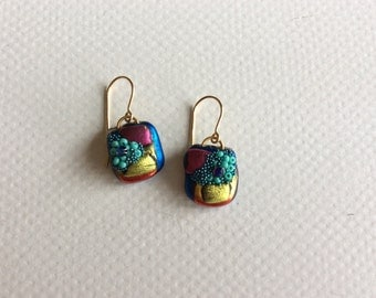 Turquoise, Blue and Gold Square Earrings