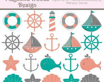 Nautical Clip Art, Mint and Coral Nautical Clip Art, Sailboat Clip Art, Nautical Images, Beach Clip Art, Small Commercial Use Clip Art