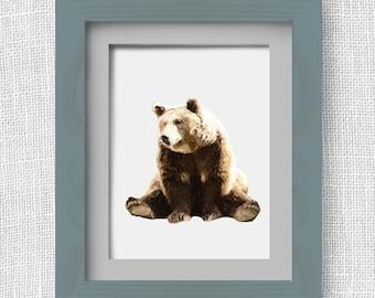 Bear, Digital Download, Digital Art, Printable Wall Art, Forest Animals, Home, Office, Nursery, Minimalist Design