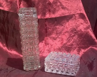 Vintage Crystal Clear Block Cut Bud Vase & Trinket Box Set