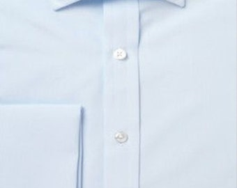 Slim fit ice blue double cuff custom fit shirt
