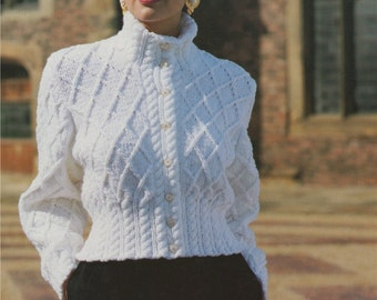 Womens Jacket PDF Knitting Pattern : Ladies 30 - 32, 34 - 36 and 38 - 40 inch bust . Patterned Cardigan . Chunky . Digital Download