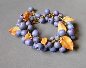 Wild Forest Blueberry Bracelet made from polymer clay.