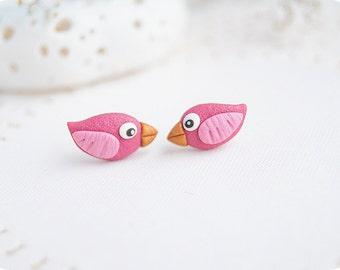 Teen girl gifts Tween girls earrings Tiny pink earrings Minimalist jewelry cute little bird earrings studs earrings sweet 16 jewelry kids