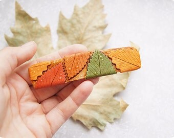 OOAK rustic hair clip barrette  •  Autumn leaves boho accessories • Autumn fall • Drop of rain • Foliage unusual accessories • gift for her