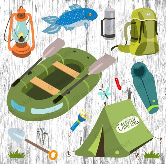 13 camping clipart fishing inflatable boat tent sleeping for Fish camping boat