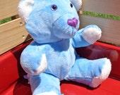 Handmade Blue Minky Teddy Bear, Blue Bear, Glacier Bear, Tibetan Blue Bear, Handmade Plushie, Baby Shower Gift, Stuffed Animal, Heirloom Toy