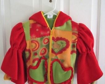 Girls fleece Hoodie Jacket - Linned - Princess Sleeve - Princess Jacket - Heart Pockets - Red Green - Angels - Stars - Girls Hoodie