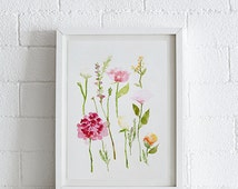 Dahlia, Larkspur, Hydrangea, Tulip, Rose, Helleborus and More Watercolor painting, Floral Print, Printable art, Home decor, Instant Download