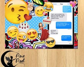 Emoji Emojis Text Party Printable Birthday Invitation - Personalized Customized Printable Digital