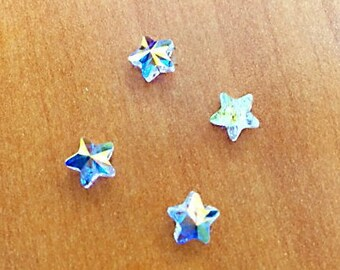 Star Bead, Swarovski Crystal Beads, Crystal Passions, 6 pcs Crystal AB, 8x8 mm Faceted Star (5714), Crystal, Beading Supplies
