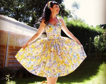 Pinup dress 'Day Fairies', rockabilly dress, fairy dress, yellow, floral 50s dress