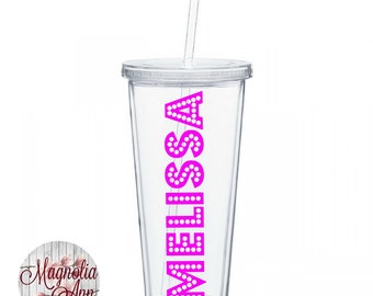 Personalized  Name Clear Classic Acrylic Tumbler Double Wall w/ Lid and Straw 20 Oz