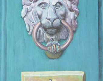 Fine Art Print Greeting Card - Door Knocker at Orchard House