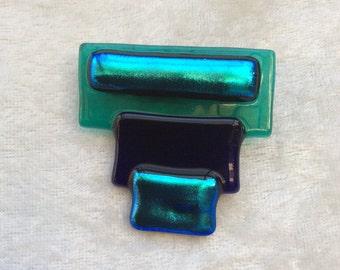 GLASS BROOCH Emerald Green Navy Teal - Elegant Brooch - Abstract design Glass brooch