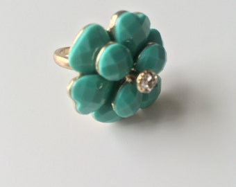 Green Flower Power Statement Ring, Hippy, Free Spirit, Flowers, Rings, Bohemian