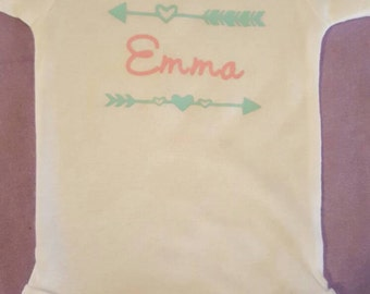 Personalized name baby onesie with 2 arrows makes for a great baby shower gift