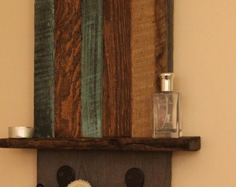 reclaimed wood towel rack with shelf