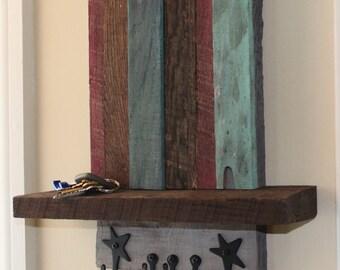 green teal plum crimson key hanger with shelf of reclaimed wood