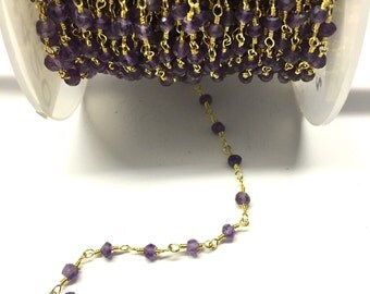 Amethyst Chain, Gold Plated Wire Wrapped Chain, Rosary Chain, Gold Plated Rosary Beaded Chain Stone Chain By Foot