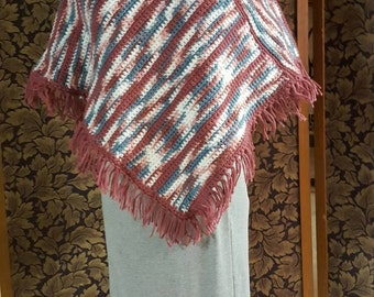 Girl poncho in mauve, turquoise, white and pink with matching cap
