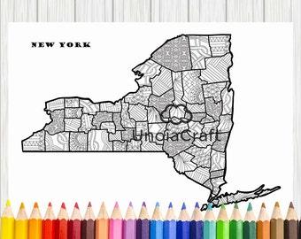 USA Map Coloring Page Usa Map Wall Art Adult Coloring - Us map coloring pages pdf