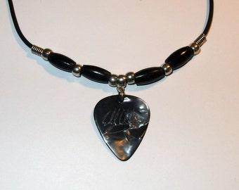 Eddie Van Halen Ernie Ball Music Man Gray Faux Tort Guitar Pick Necklace