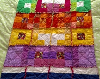 Throw Size Multi Color Rag Quilt: Approx 3' by 5'