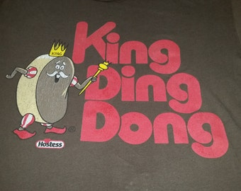 Vintage Hostess Cupcakes Promotional T Shirt-KING DING DONG-Chocolate Brown-Mens Size L-Worn