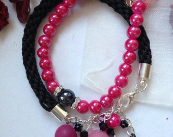 Pink and Black, Combination of Two Bracelet in Matching Colours