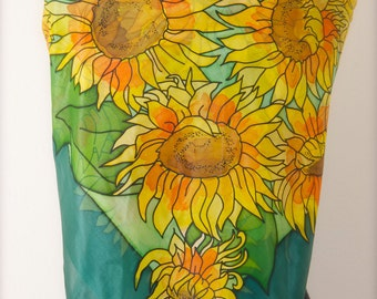 Handpainted Square 100% Silk Scarf dyed with silk dyes, Sunflowers, Gift for her, Elegant