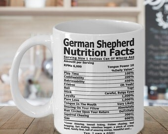 German Shepherd Nutrition Coffee mug , Coffee cup, German Shepherd Gifts, Nutrition Type Font   GSD Coffee Mug