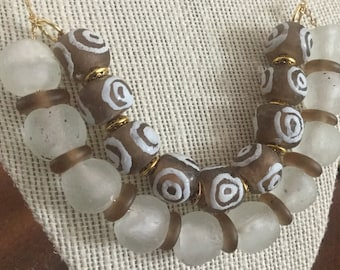 Beaded necklace featuring African glass beads
