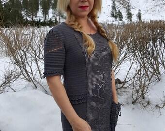Boho dress, filet dress, crochet dress, grey dress