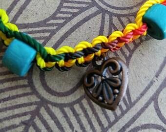 Heart Charm Bracelet with Beads on Adjustable Nylon Thread