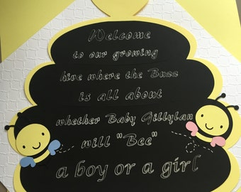"""Bumble Bee Gender Reveal Door Sign """"What will it bee""""  or Lawn Sign"""