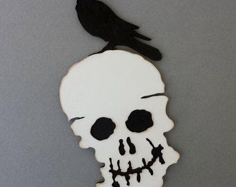 Skull with raven~crow. Original wooden wall art.