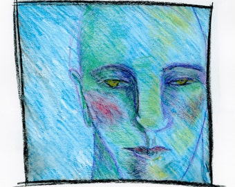 Man's face in blue, colored pencils, watercolor: personal, intimate portrait of thoughtful person