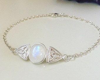 Sterling silver and rainbow moonstone celtic trinity bracelet, crystal healing bracelet, natural gemstone bracelet, alternative / grunge